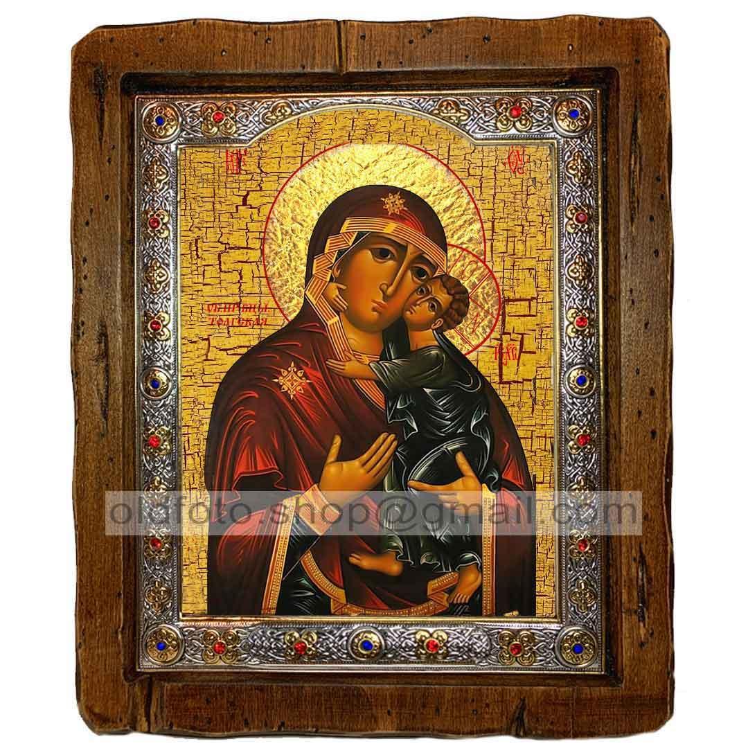 Толгская Икона Пресвятой Богородицы  ,с посеребренным окладом 160х200 мм