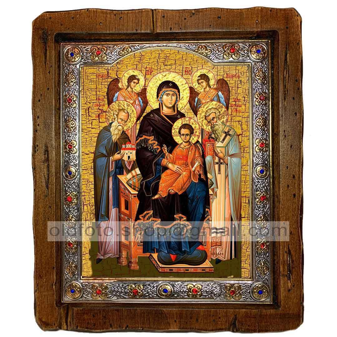 Экономисса Икона Пресвятой Богородицы  ,с посеребренным окладом 110х130 мм