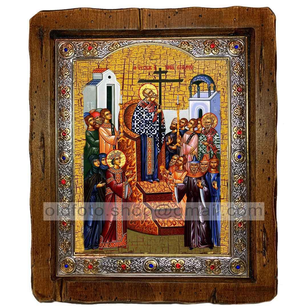 Икона Воздвижение Креста Господня (с посеребренной рамкой 110х130мм)