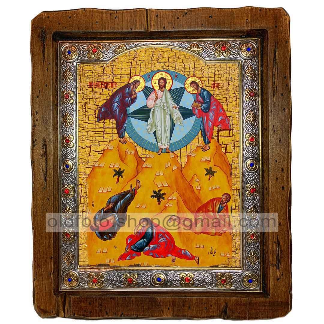 Икона Преображение Господне (с посеребренной рамкой 110х130мм)