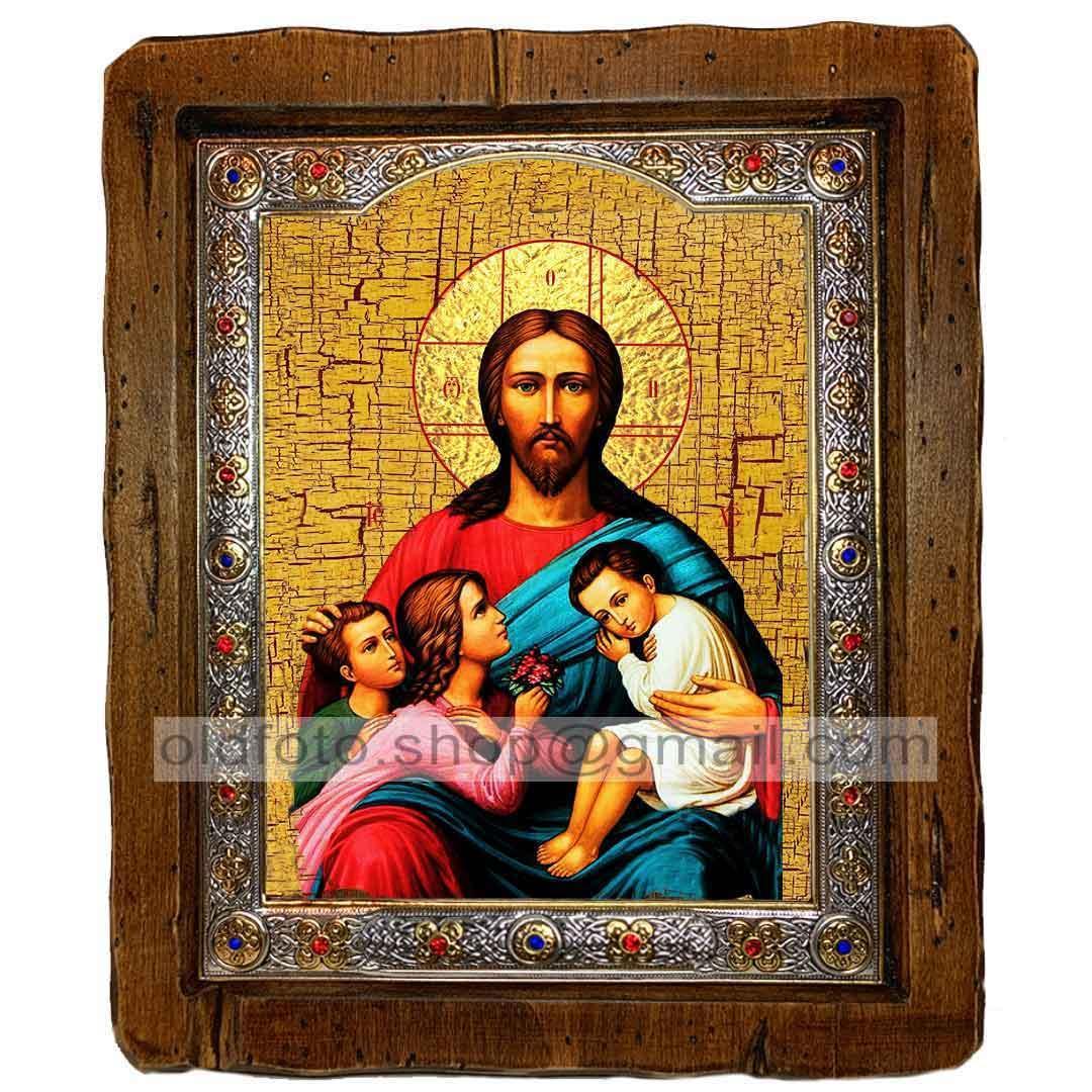 Икона Благословение детей Спаситель, Господь Вседержитель  ,с посеребренным окладом 110х130 мм