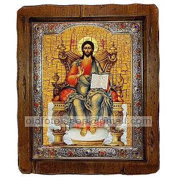 Икона Спаситель Господь Вседержитель на престоле  ,с посеребренным окладом 110х130 мм
