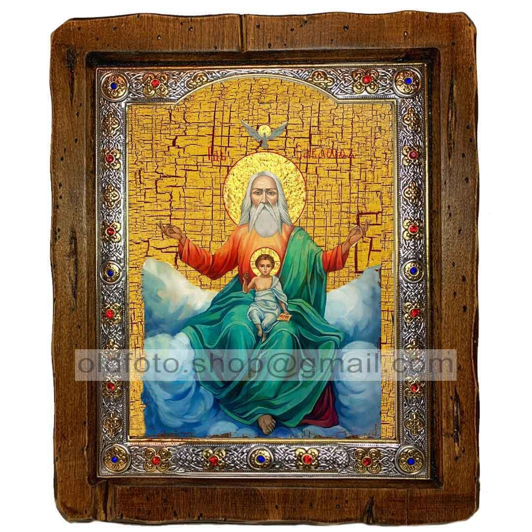 Икона Господь Саваоф  ,с посеребренным окладом 110х130 мм