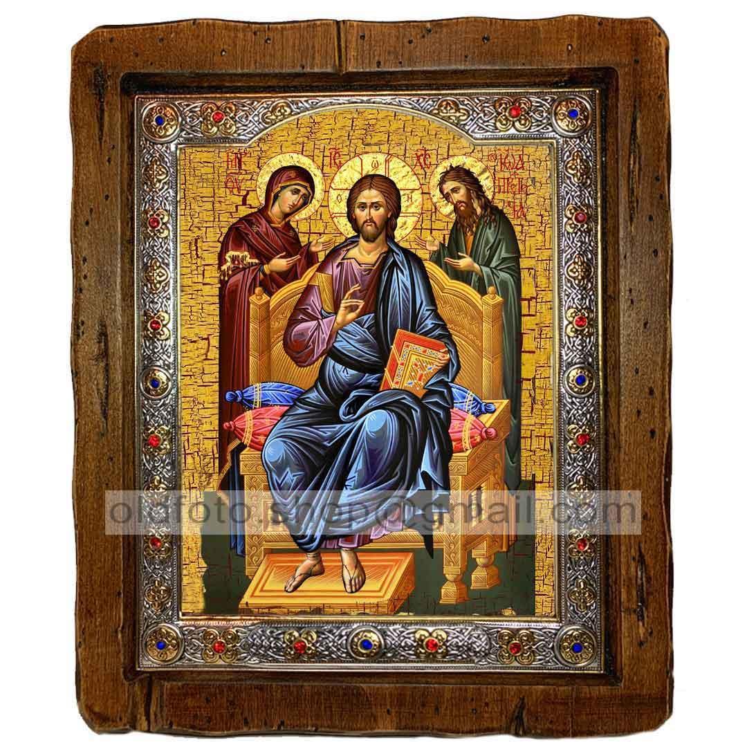 Икона Деисус (Деисис,  Деисусный чин, Спаситель Господь, Вседержитель)  ,с посеребренным окладом 110х130 мм