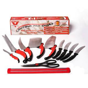 Набор ножей Contour Pro Knives Original с серебристым лезвием 10 шт Черно-красный