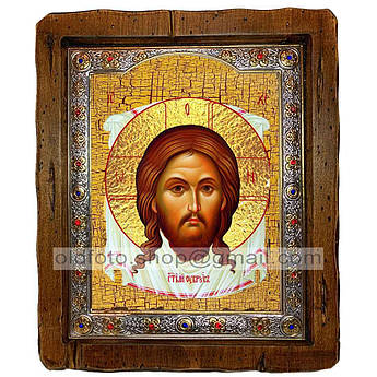 Икона Нерукотворный Образ Спаситель, Господь Вседержитель  ,с посеребренным окладом 110х130 мм