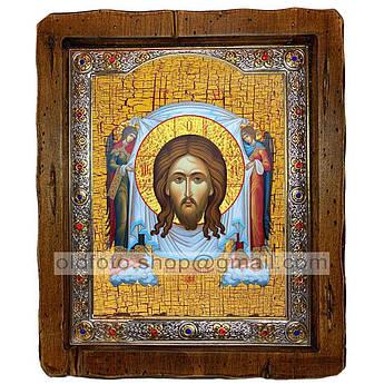 Икона Нерукотворный Образ Спаситель, Господь Вседержитель  ,с посеребренным окладом 210х250 мм