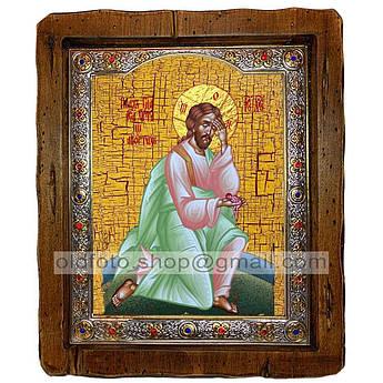 Икона Плач Иисуса Христа об убиенных младенцах Спаситель  ,с посеребренным окладом 210х250 мм
