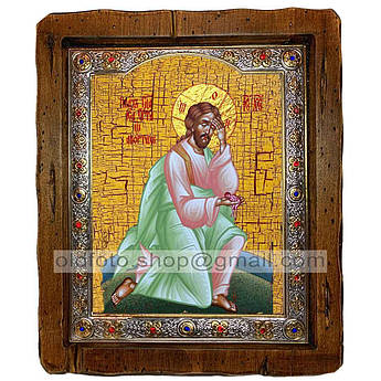 Икона Плач Иисуса Христа об убиенных младенцах Спаситель  ,с посеребренным окладом 110х130 мм