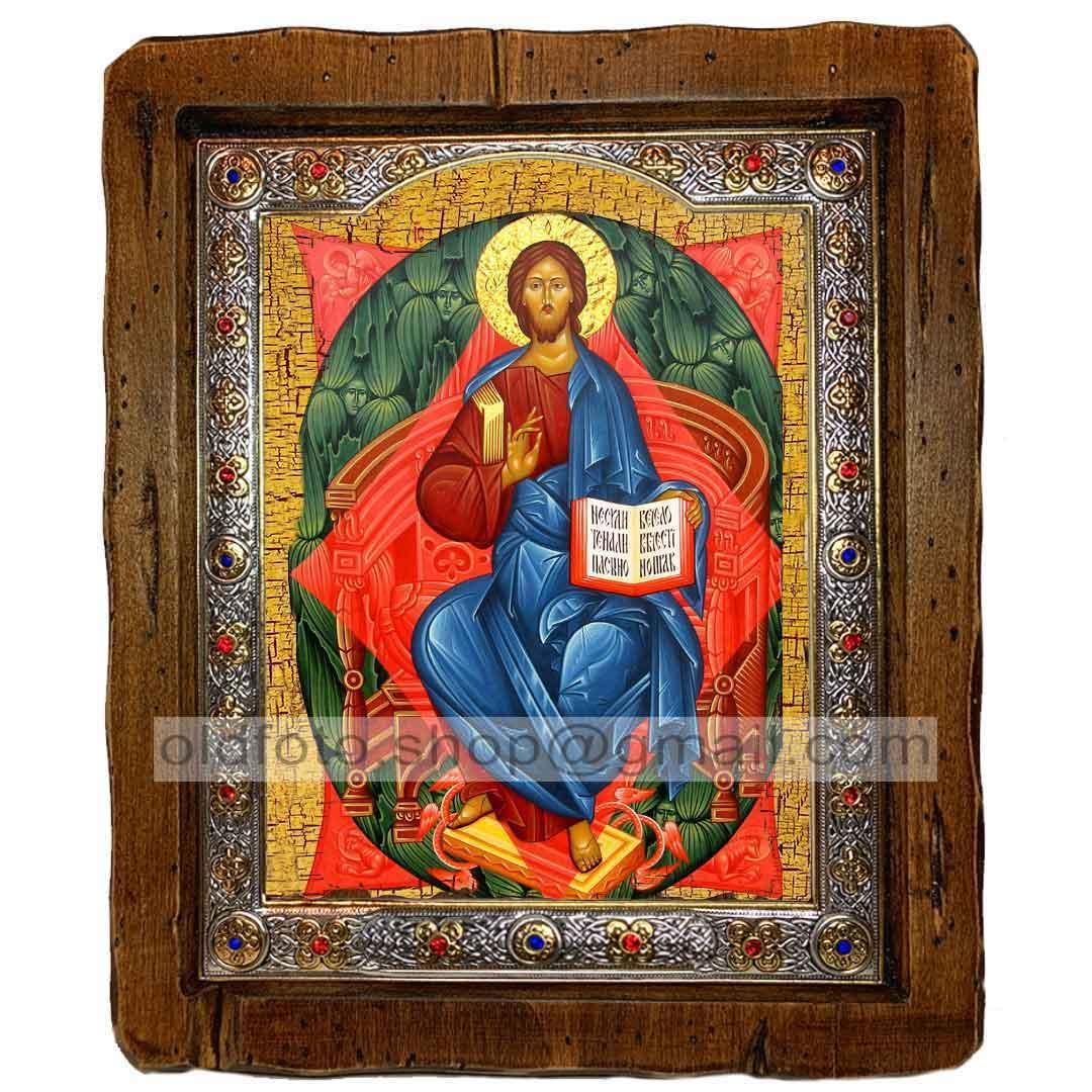 Икона Спас в Силах Спаситель, Господь Вседержитель  ,с посеребренным окладом 110х130 мм