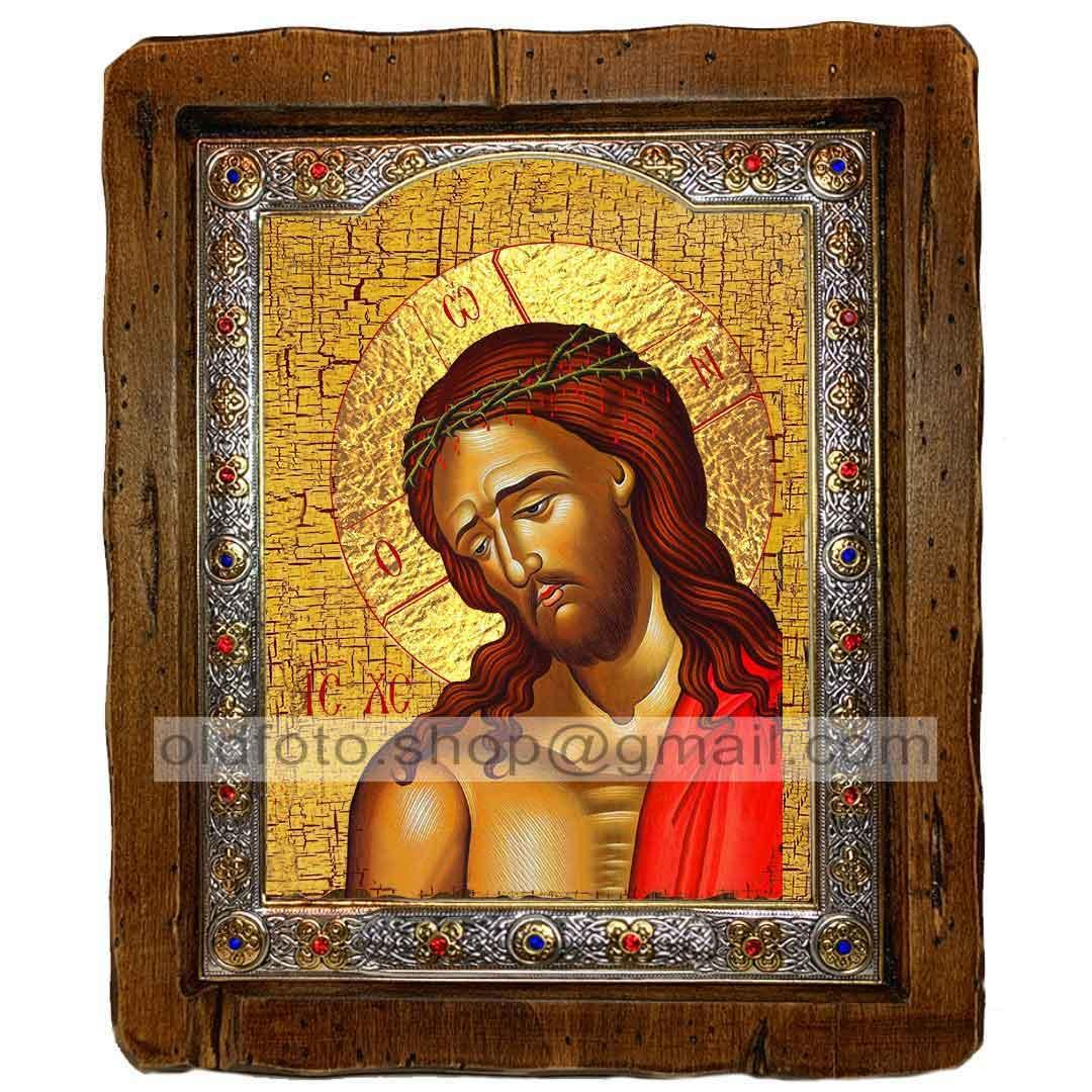 Икона Спаситель в Терновом Венце  ,с посеребренным окладом 110х130 мм