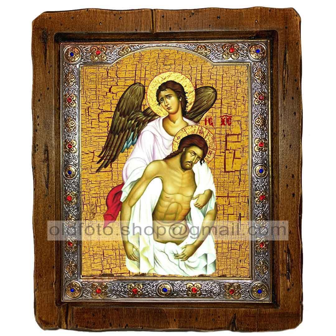 Икона Спаситель с Ангелом Спаситель, Господь Вседержитель  ,с посеребренным окладом 110х130 мм