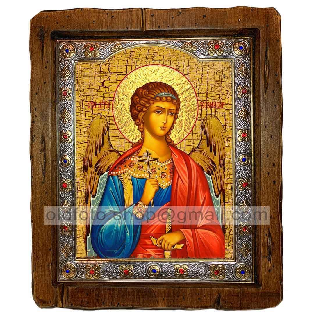 Икона Ангел-Хранитель (с посеребренной рамкой 110х130мм)