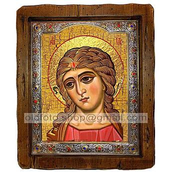 Икона Ангел Златые Власы  ,с посеребренным окладом 110х130 мм