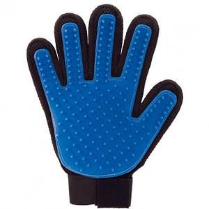 Рукавичка True Touch для вичісування шерсті з липучкою (up3899) Оригінал Синій