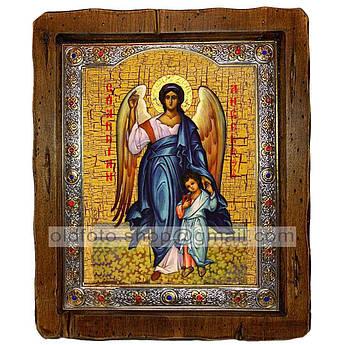 Икона Ангел Хранитель  ,с посеребренным окладом 210х250 мм