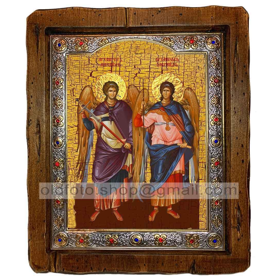 Икона Михаил и Гавриил Архангелы (с посеребренной рамкой 110х130мм)