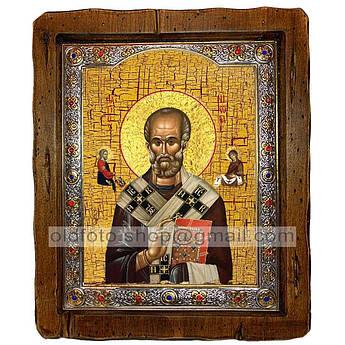 Икона Николай Святой Чудотворец  ,с посеребренным окладом 210х250 мм