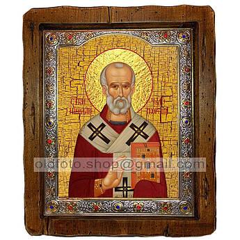 Икона Николай Чудотворец  ,с посеребренным окладом 160х200 мм