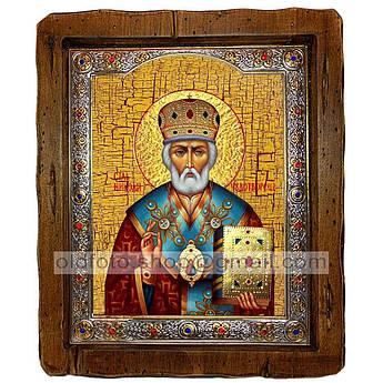 Икона Николай Чудотворец  ,с посеребренным окладом 110х130 мм