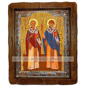 Икона Николай Чудотворец и Спиридон Тримифунтский  ,с посеребренным окладом 160х200 мм