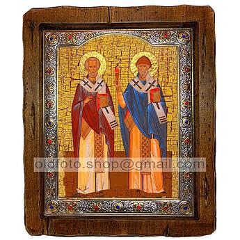 Икона Николай Чудотворец и Спиридон Тримифунтский  ,с посеребренным окладом 110х130 мм