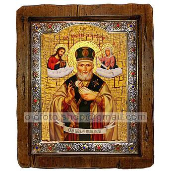 Икона Николай Чудотворец Николай Мокрый  ,с посеребренным окладом 160х200 мм
