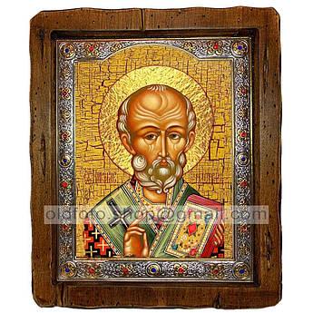 Икона Николай Чудотворец  ,с посеребренным окладом 210х250 мм