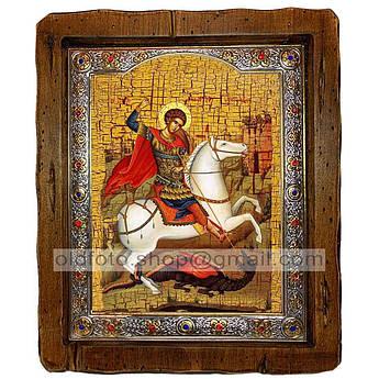 Икона Георгий Святой Великомученик Победоносец  ,с посеребренным окладом 210х250 мм