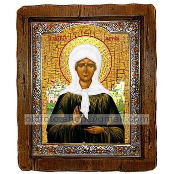 Икона Матрона Святая Блаженная Московская  ,с посеребренным окладом 110х130 мм