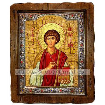 Икона Пантелеймон Святой Великомученик и Целитель  ,с посеребренным окладом 110х130 мм