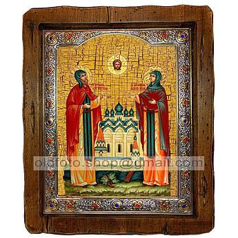 Икона Петр и Феврония Святые Муромские  ,с посеребренным окладом 110х130 мм