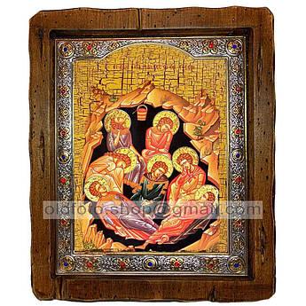 Икона Семь отроков Эфесских  ,с посеребренным окладом 110х130 мм