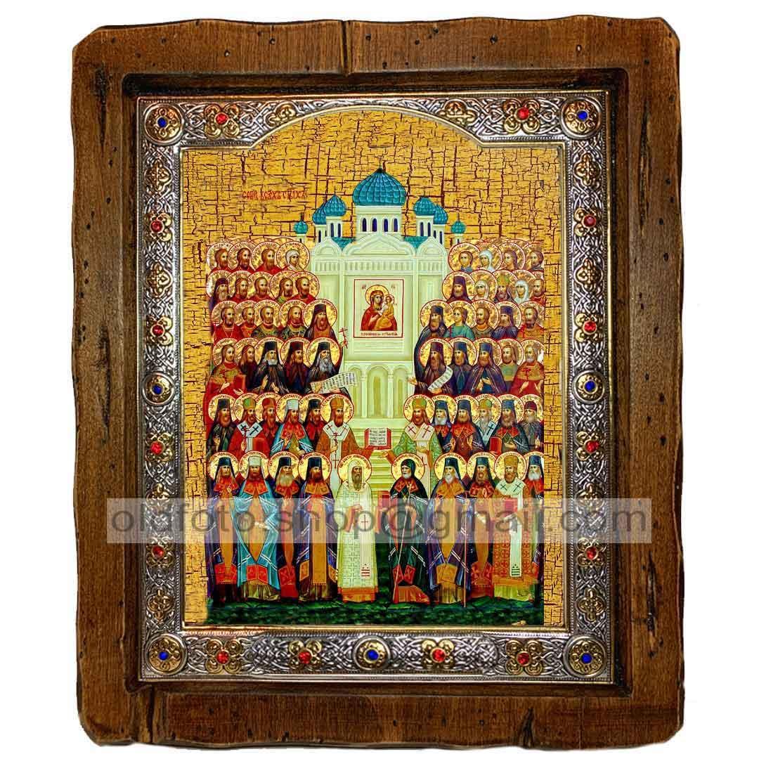 Икона Собор Всех Святых  ,с посеребренным окладом