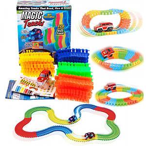 Гоночна траса Магік Трек 3,2 метра Glow Tracks, 220 деталей і машинка з LED підсвічуванням Magic Tracks (MT01)