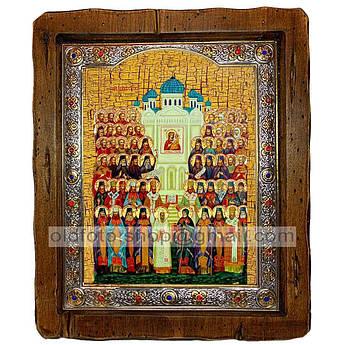 Икона Собор Всех Святых  ,с посеребренным окладом 110х130 мм