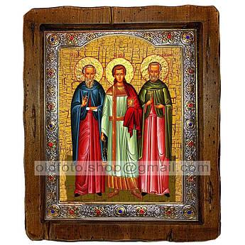 Икона Гурий, Самон и Авив  ,с посеребренным окладом 110х130 мм