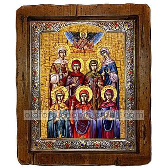 Икона Жены-мироносицы  ,с посеребренным окладом 110х130 мм