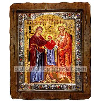 Икона Иоаким и Анна Святые праведные  ,с посеребренным окладом 110х130 мм