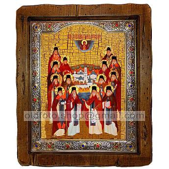 Икона Собор Оптинских старцев  ,с посеребренным окладом 110х130 мм