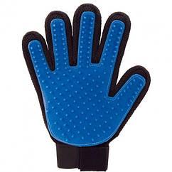 Перчатка True Touch для вычесывания шерсти с липучкой (up3899) Оригинал Синий