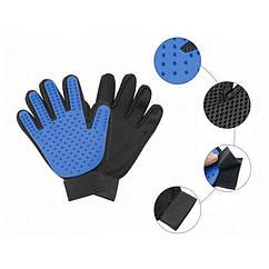 Перчатка True Touch для вычесывания шерсти кошек и собак 20х14 см резина и нейлон  (1000047) Синяя