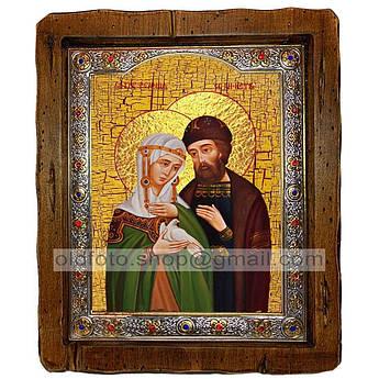 Икона Петр и Феврония с голубем  ,с посеребренным окладом 110х130 мм