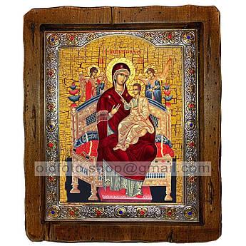 Всецарица Икона Пресвятой Богородицы   ,с посеребренным окладом 110х130 мм