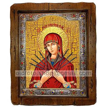 Семистрельная Икона Пресвятой Богородицы   ,с посеребренным окладом 110х130 мм