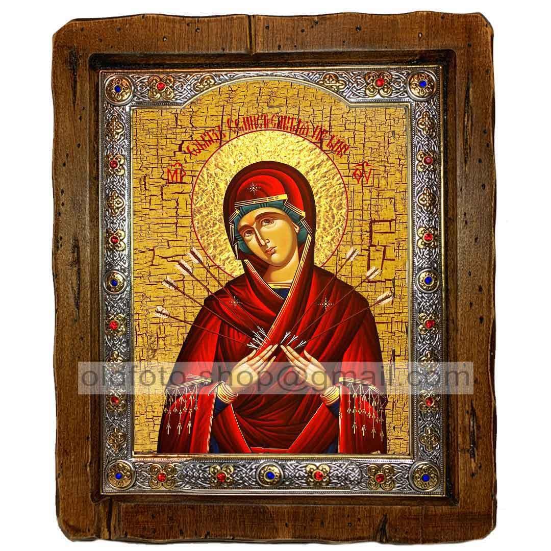 Семистрельная Икона Пресвятой Богородицы  (с посеребренной рамкой 110х130мм)