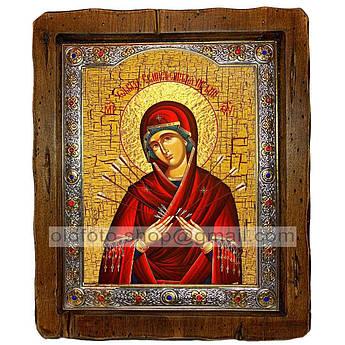 Семистрельная Икона Пресвятой Богородицы   ,с посеребренным окладом 210х250 мм