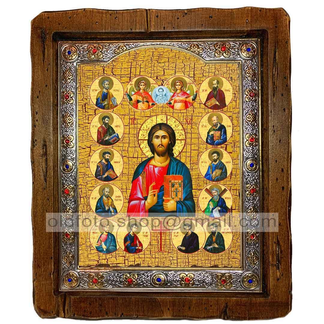 Икона Спаситель Господь Вседержитель с предстоящими  ,с посеребренным окладом 110х130 мм