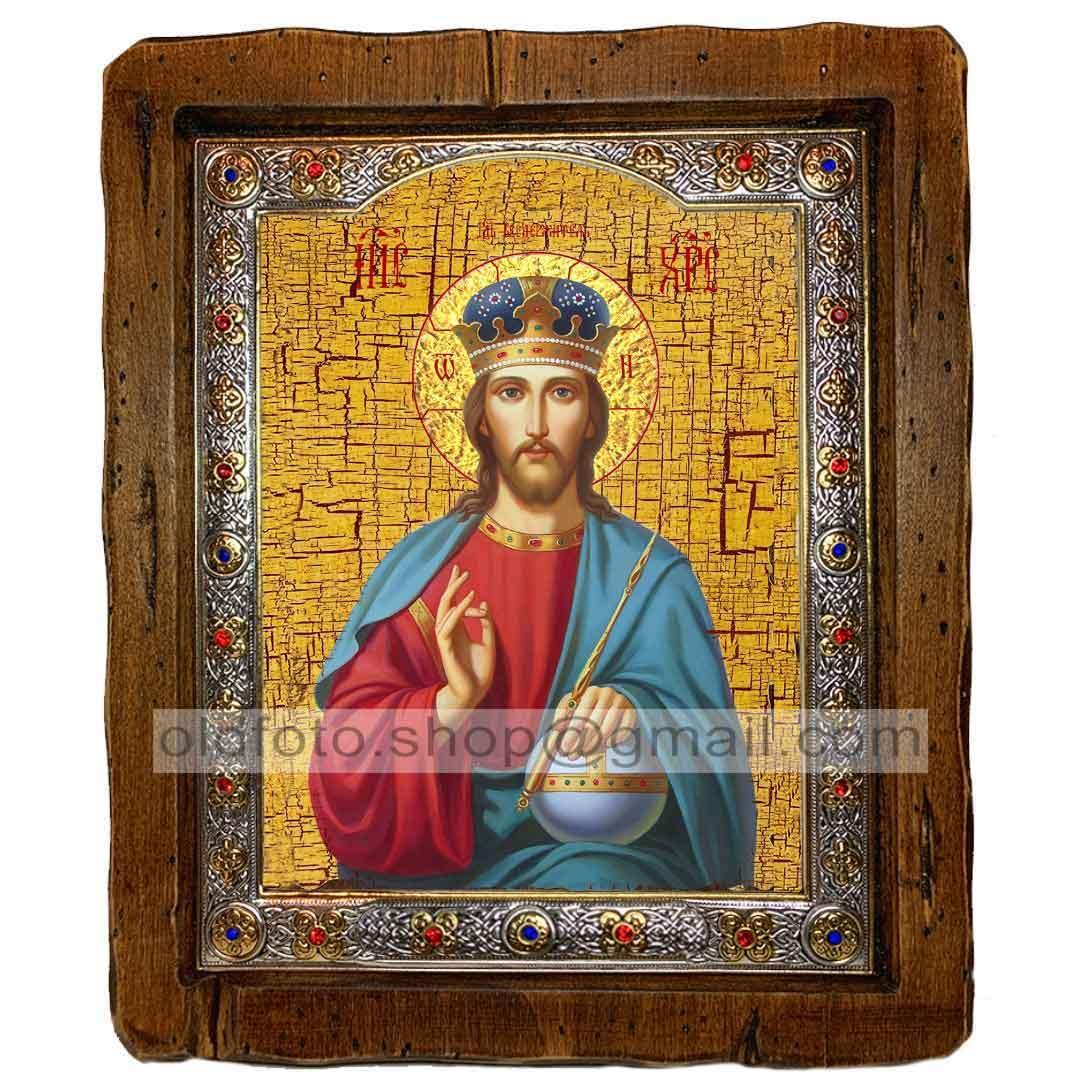 Икона Спаситель Господь Вседержитель (с посеребренной рамкой 110х130мм)