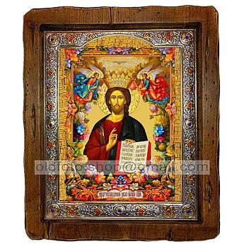Икона Спаситель Господь Вседержитель  ,с посеребренным окладом 210х250 мм